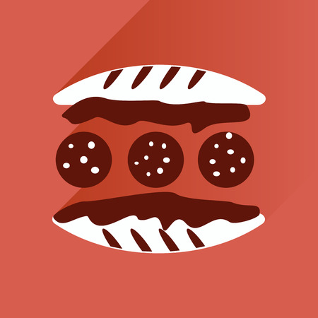 mustard seed: Flat with shadow Icon Burger on stylish background