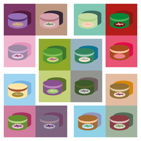 tinned: Modern flat icons vector collection with shadow Canned fish