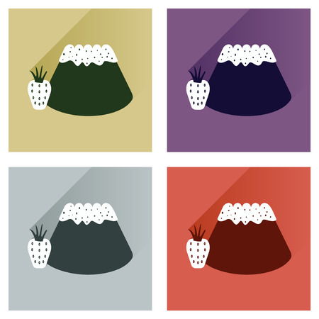 corn poppy: Modern flat icons vector collection with shadow Bun  strawberries