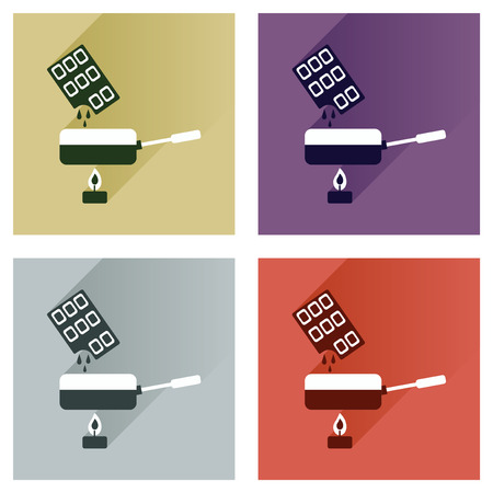 fondue: Modern flat icons vector collection with shadow chocolate fondue Illustration