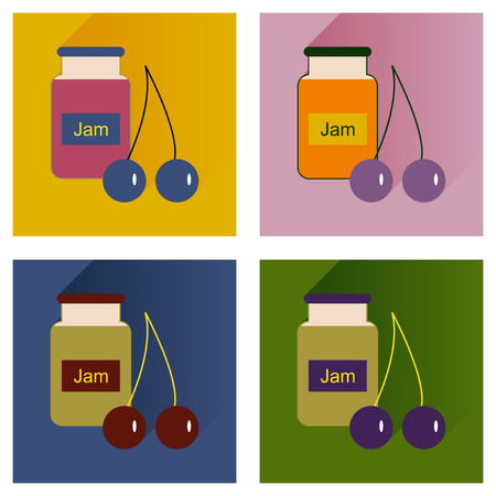 confiture: Vector set flat icons with long shadow Bank cherry jam