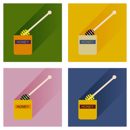 curative: Vector set flat icons with long shadow jar of honey Illustration