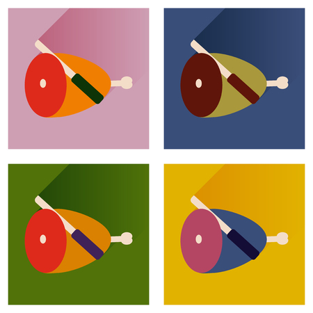 lard: Vector set flat icons with long shadow ham and knife Illustration