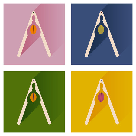 press nuts: Vector set flat icons with long shadow nut and nutcracker Illustration