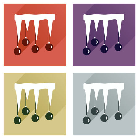 icicle: Set of flat icons with long shadow Christmas balls icicle