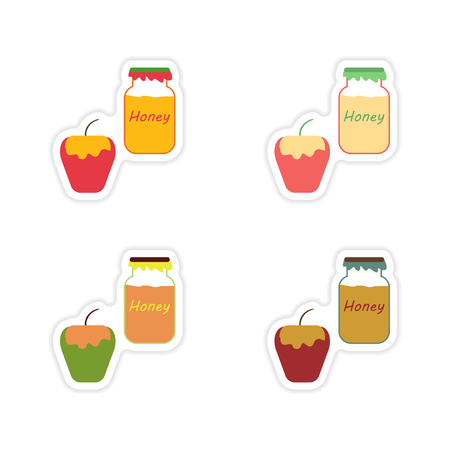 apple and honey: Set of paper stickers on white background honey apple