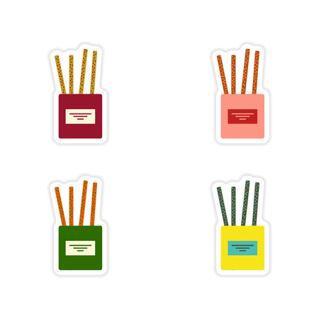 partisan: Set of paper stickers on a white background cheese sticks