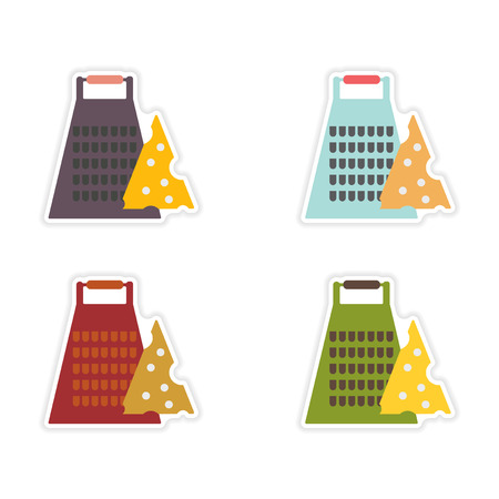 torment: Set of paper stickers on white background Grater cheese Illustration