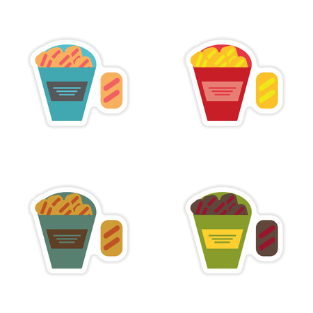crackers: Set of paper stickers on a white background snack crackers Illustration