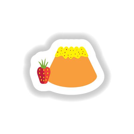 sweet bun: stylish paper sticker sweet Bun with strawberries Illustration