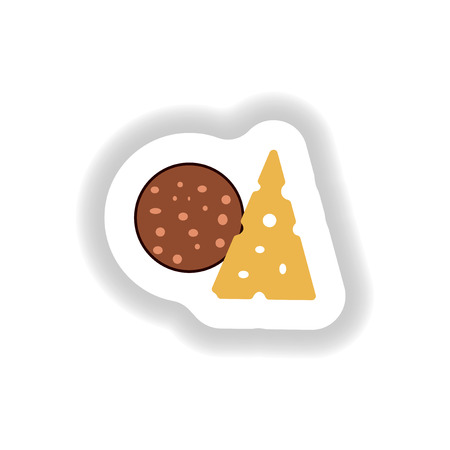 crusty: stylish paper sticker a piece of sausage and cheese Illustration
