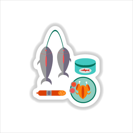 dorado: Set of paper stickers on white junk food Illustration