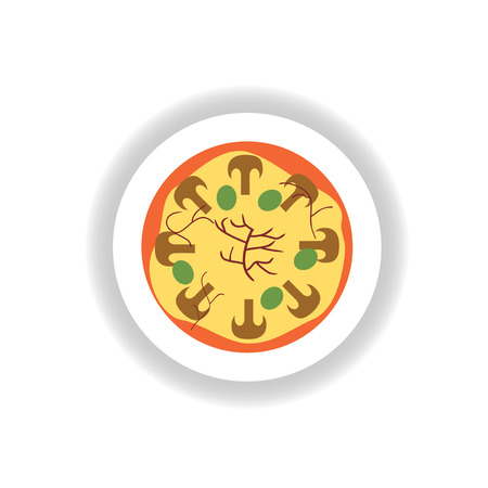 fattening: stylish paper sticker pizza with mushrooms and olives Illustration