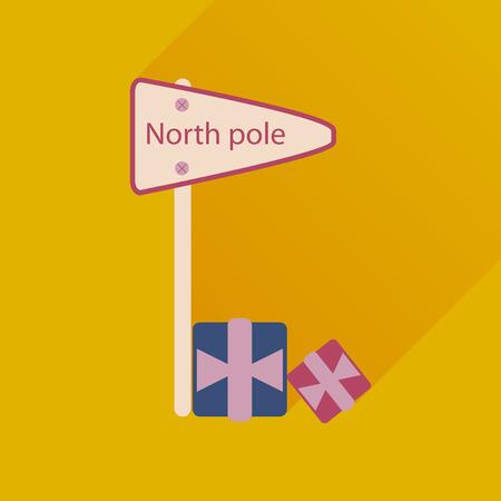 frigid: flat icon with long shadow North Pole