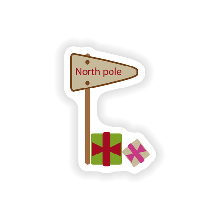 north pole: stylish paper sticker on white background pointer North Pole Illustration