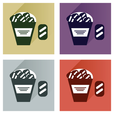 crackers: Vector set flat icons with long shadow snack crackers Illustration