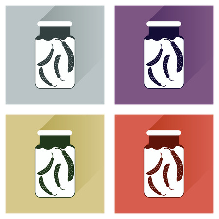 vegetable tin: Vector set flat icons with long shadow canned peas