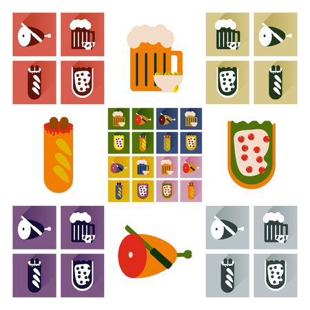 snacks: Vector set flat icons with long shadow snacks for party