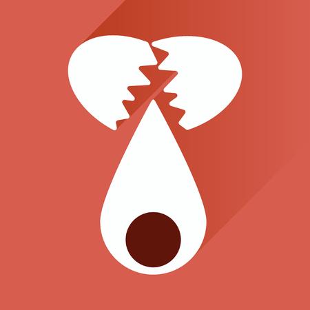 broken egg: flat icon with long shadow broken egg Illustration