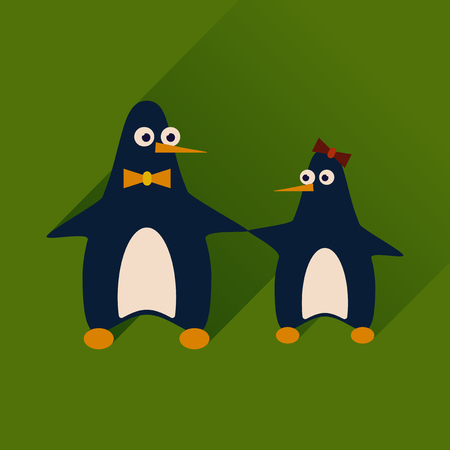 pair: Flat web icon with long shadow pair penguins