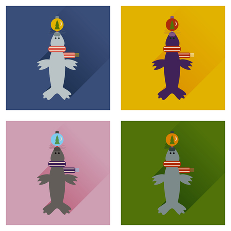 whisker characters: Set of flat icons with long shadow fur seal