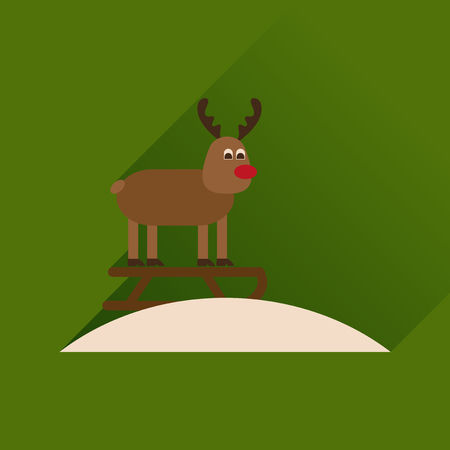sledging: Flat icon with long shadow Reindeer sledging Illustration