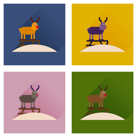 sledging: Concept of flat icons with long shadow Reindeer sledging Illustration