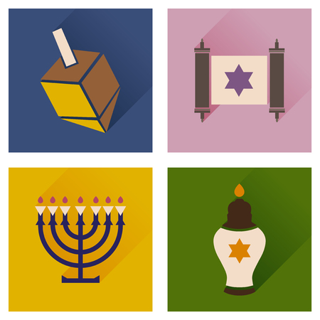 jews: Concept of flat icons with long shadow Hanukkah