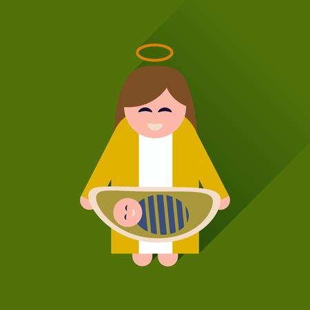 nacimiento de jesus: icono plana con una larga sombra Virgen Mar�a y Jes�s