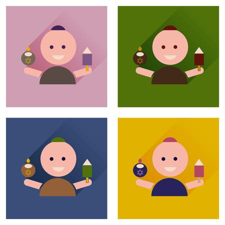 jewish: Concept of flat icons with long shadow Jewish child Illustration