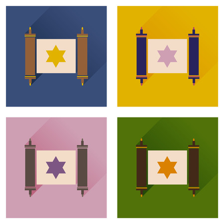 pentateuch: Concept of flat icons with long shadow Torah scroll