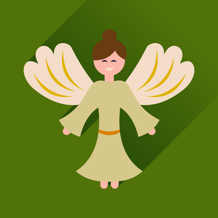 heavenly light: Flat icon with long shadow Christmas angel