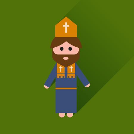 sacerdote: icono plana con sacerdote cristiano larga sombra