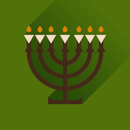 symbol traditional: Flat icon with long shadow Hanukkah candleholder Illustration