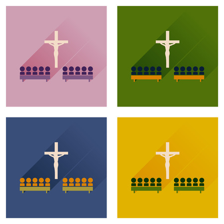 liturgy: Concept of flat icons with long shadow People in church