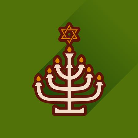 candleholder: Flat icon with long shadow Hanukkah candleholder Stock Photo