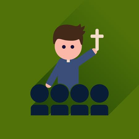 sacerdote: icono plana con cura cat�lico larga sombra