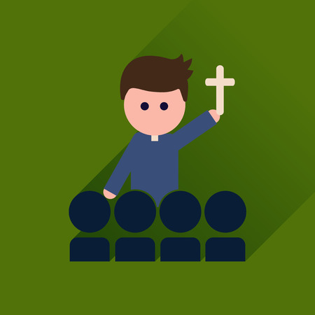 sacerdote: icono plana con cura católico larga sombra