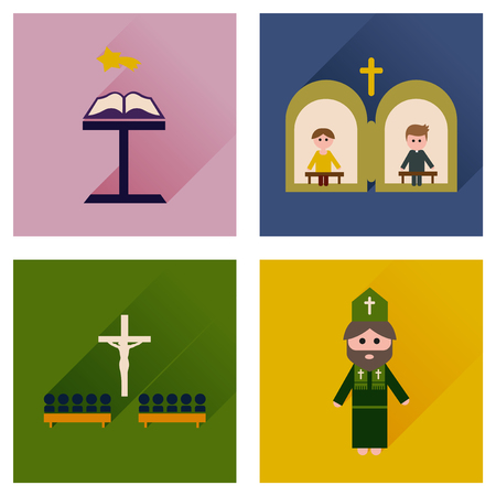 clergyman: Concept of flat icons with long shadow Christianity Stock Photo