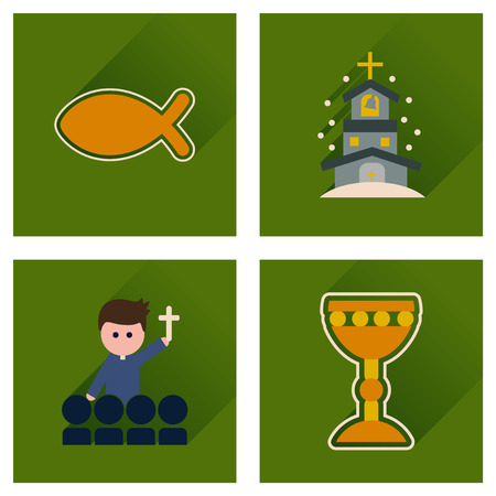 evangelical: Concept of flat icons with long shadow Christianity Stock Photo