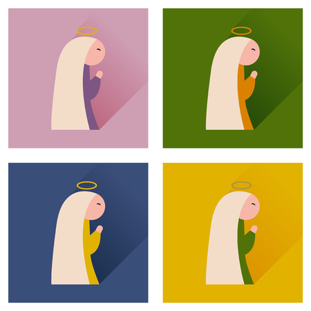 immaculate: Concept of flat icons with long shadow Virgin Mary