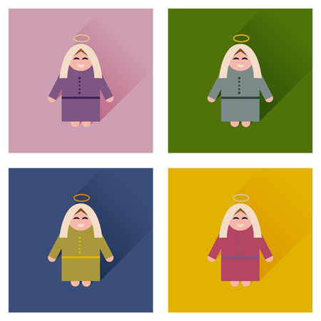 bible story: Concept of flat icons with long shadow Mother Jesus Christ