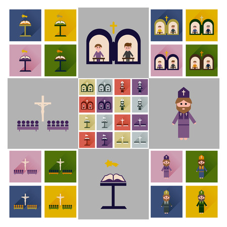 believer: Concept of flat icons with long shadow Christianity Stock Photo
