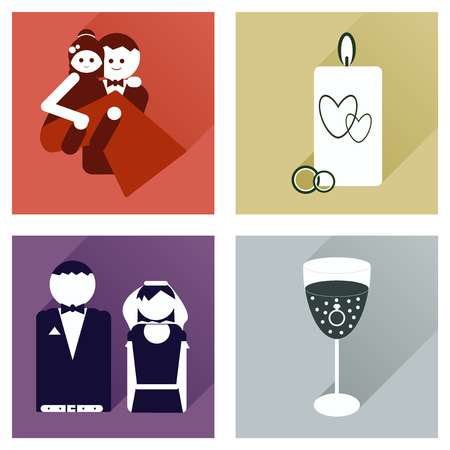 diamond candle: Set of flat icons with long shadow, wedding