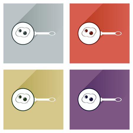 Modern flat icons collection with shadow, egg frying pan