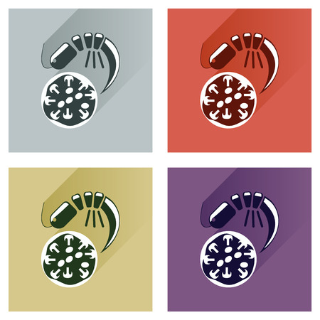 margherita: Modern flat icons collection with shadow, pizza and shrimp