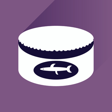 tinned: Flat icon with shadow, Canned fish on stylish background