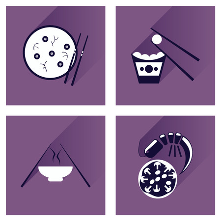 fried noodles: Modern flat icons collection with shadow, Japanese dishes