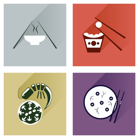 Modern flat icons collection with shadow, Japanese dishes