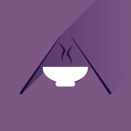 broth: Flat with shadow Icon, miso soup sticks